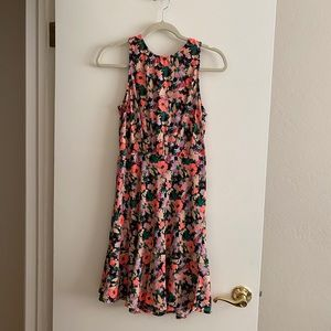 Jcrew Ruched-waist dress in neon floral